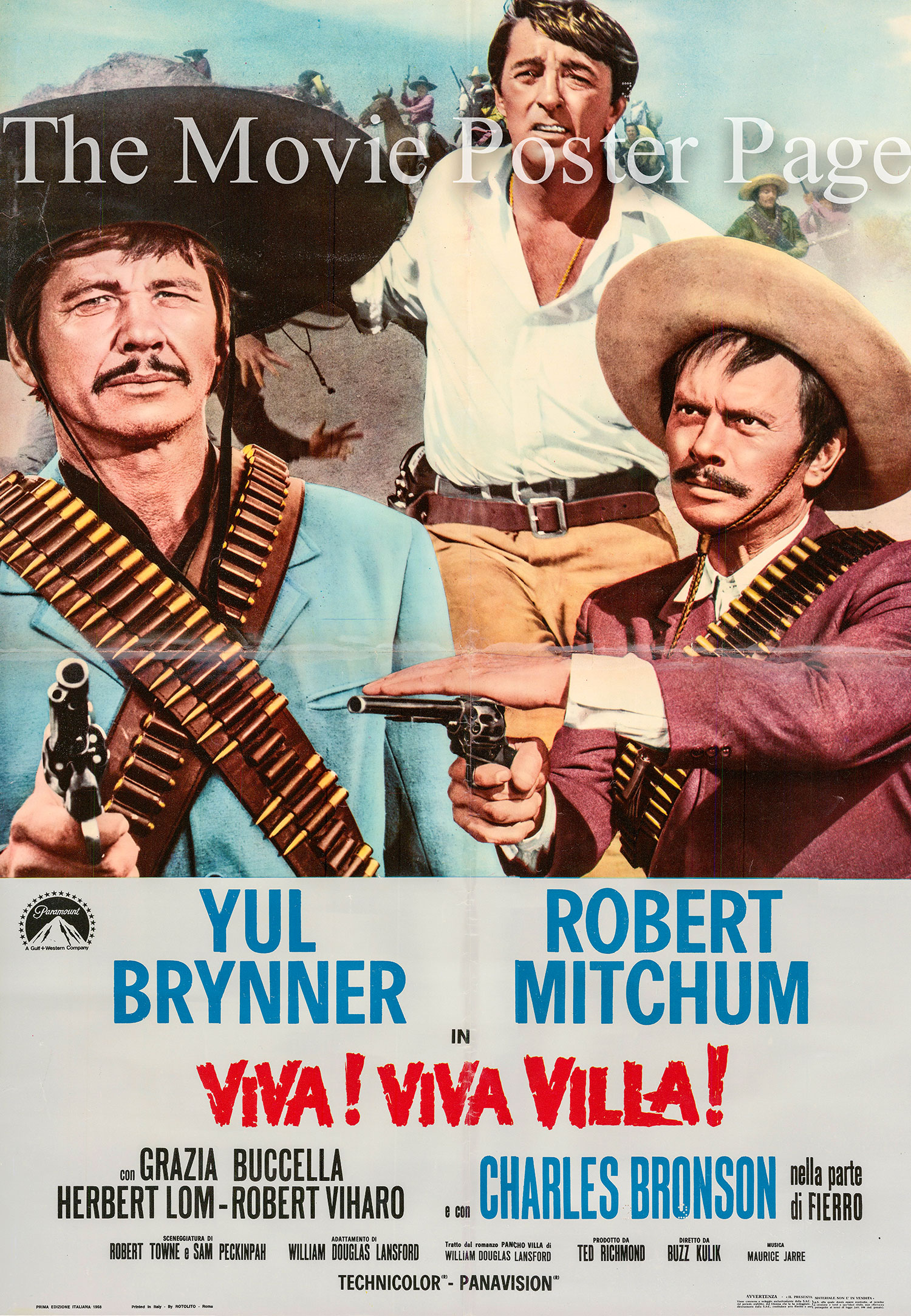 Pictured is an Italian busta for the 1968 Buzz Kulik film <i>Villa Rides</i> starring Yul Brynner as Pancho Villa.