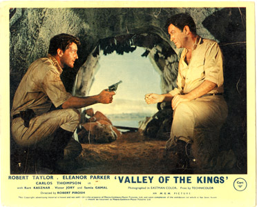 Pictured is a UK lobby card for the 1954 Robert Pirosh film Valley of the Kings starring Robert Taylor.
