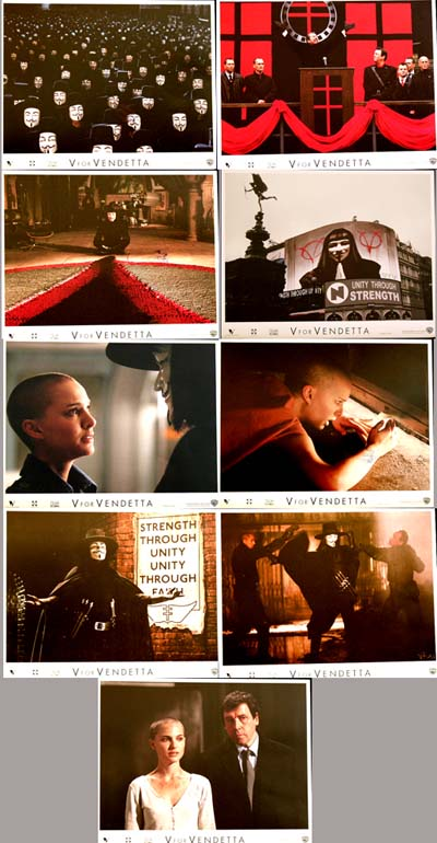 Pictured is a US promotional lobby card set for the 2006 James McTeigue film V for Vendetta starring Natalie Portman and Hugo Weaving.