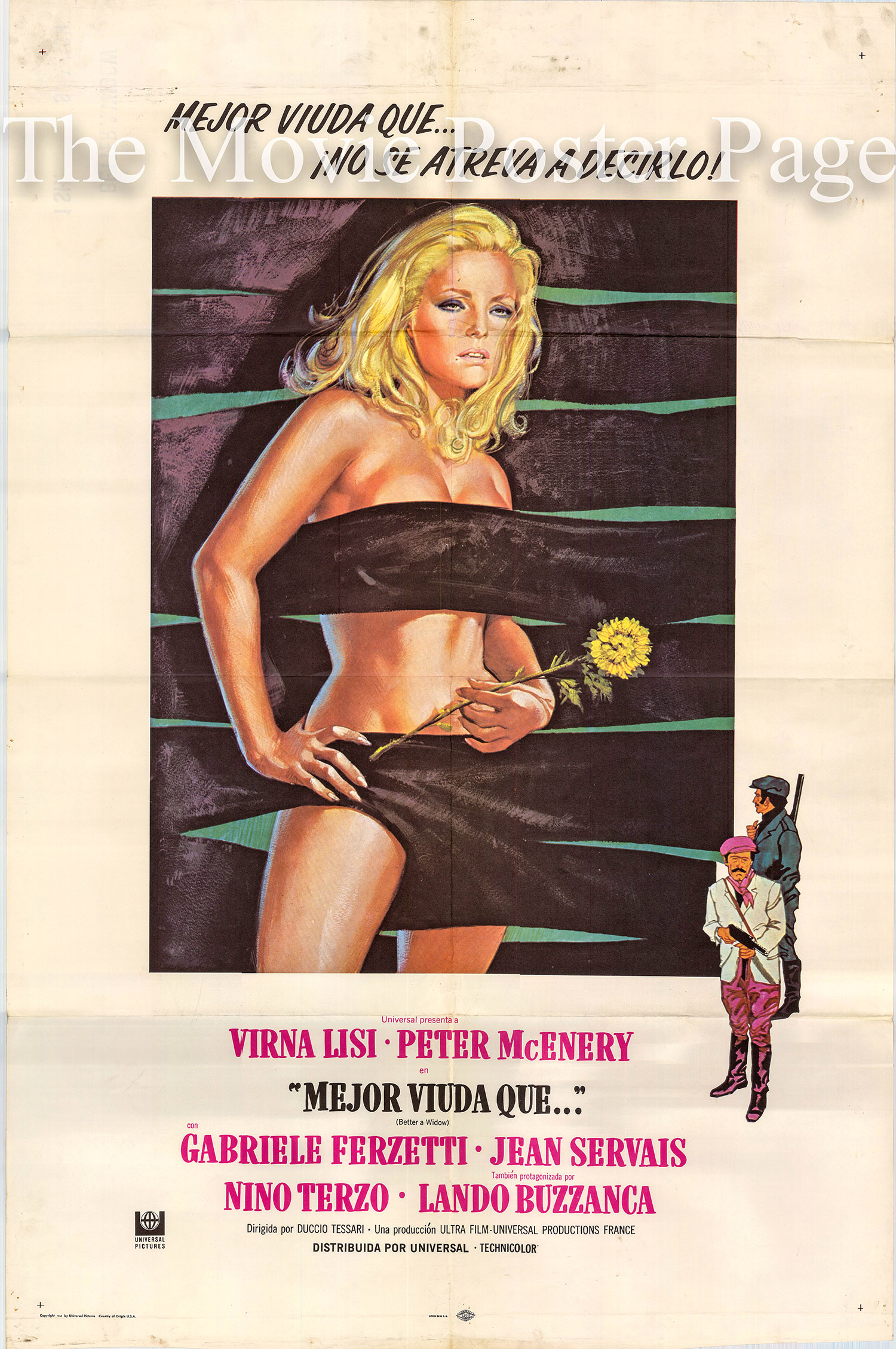 Pictured is a Spanish promotional poster for the 1968 Duccio Tessari film Better a Widow starring Verna Lisi.