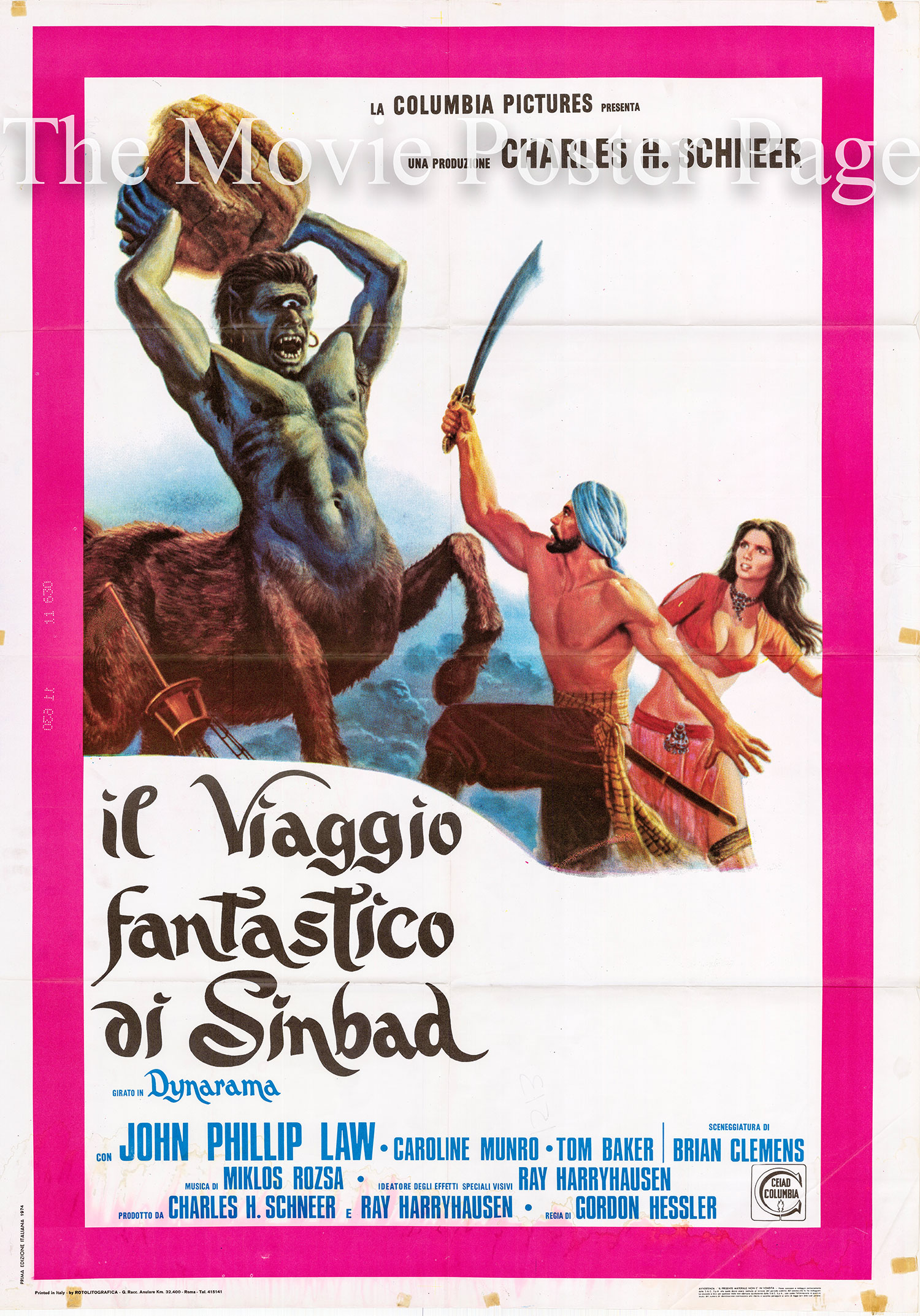 Pictured is an Italian two-sheet promotional poster for the 1973 Gordon Hessler film The Golden Voyage of Sinbad starring John Phillip Law as Sinbad.