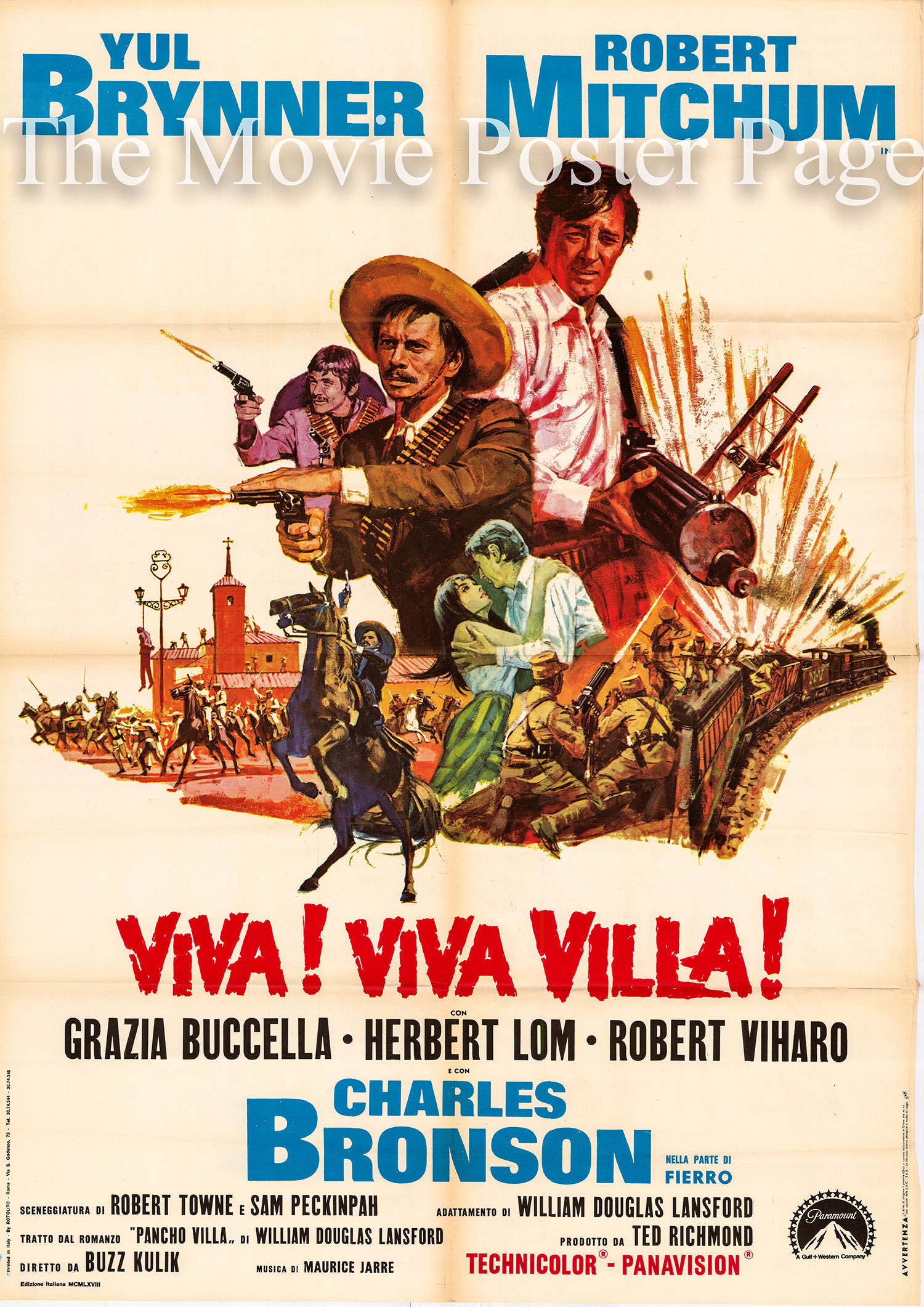 Pictured is an Italian two-sheet poster made to promote the 1968 Buzz Kulik film <i>Villa Rides</i> starring Yul Brynner as Pancho Villa.