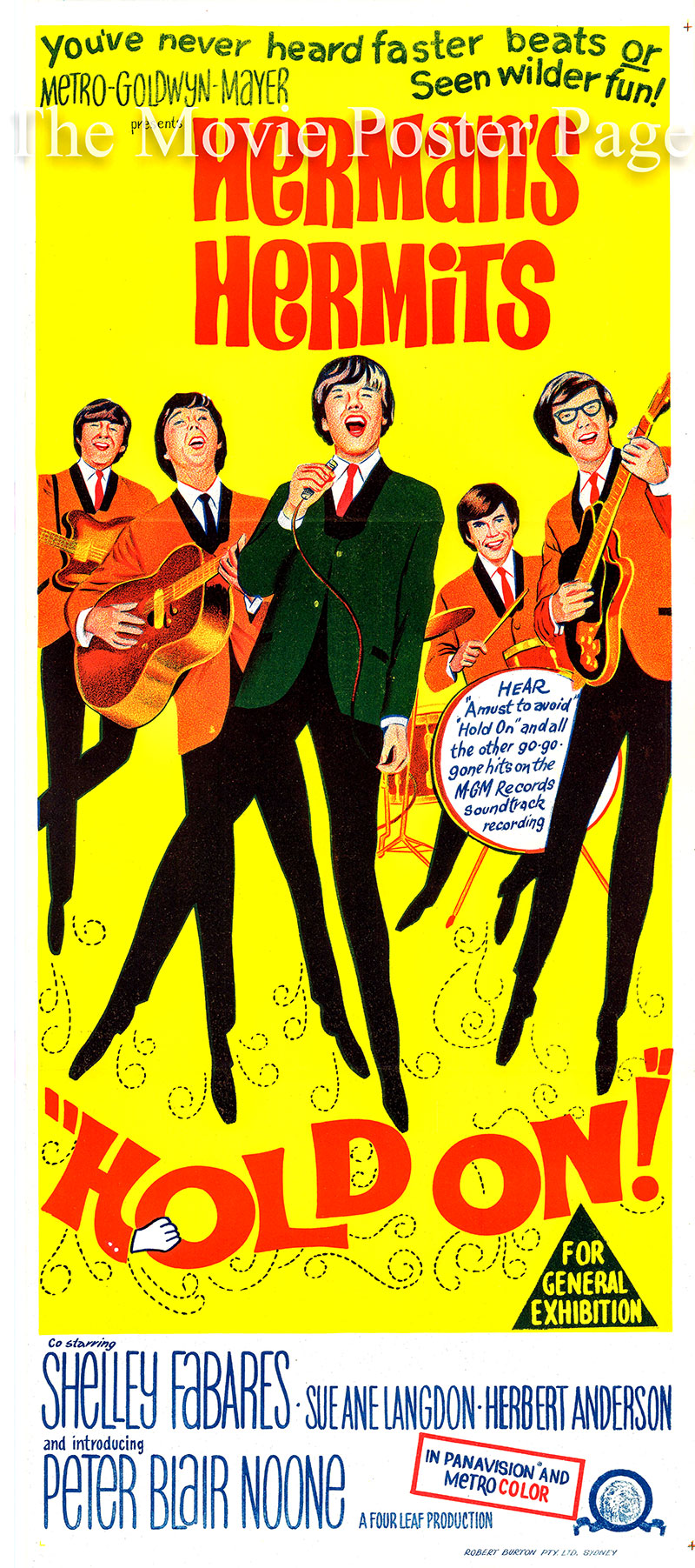 This is an Australian day bill poster for the 1966 Arthur Lubin film <i>Hold on</i> starring Herman's Hermits as themselves.