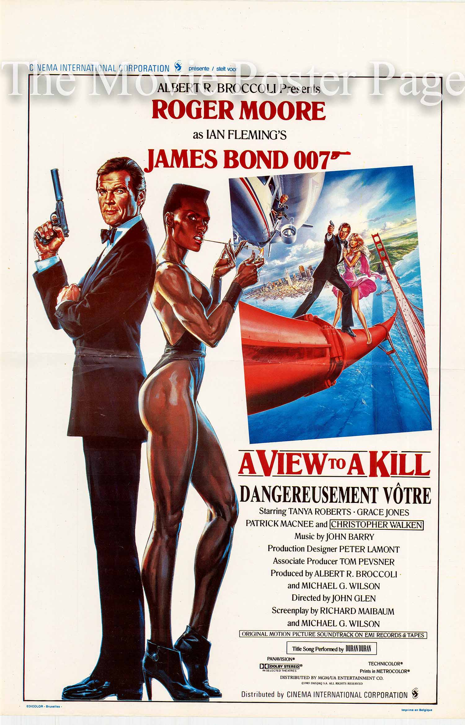 Pictured is a Belgian promotional poster for the 1985 John Glen film A View to a Kill starring Roger Moore as James Bond.