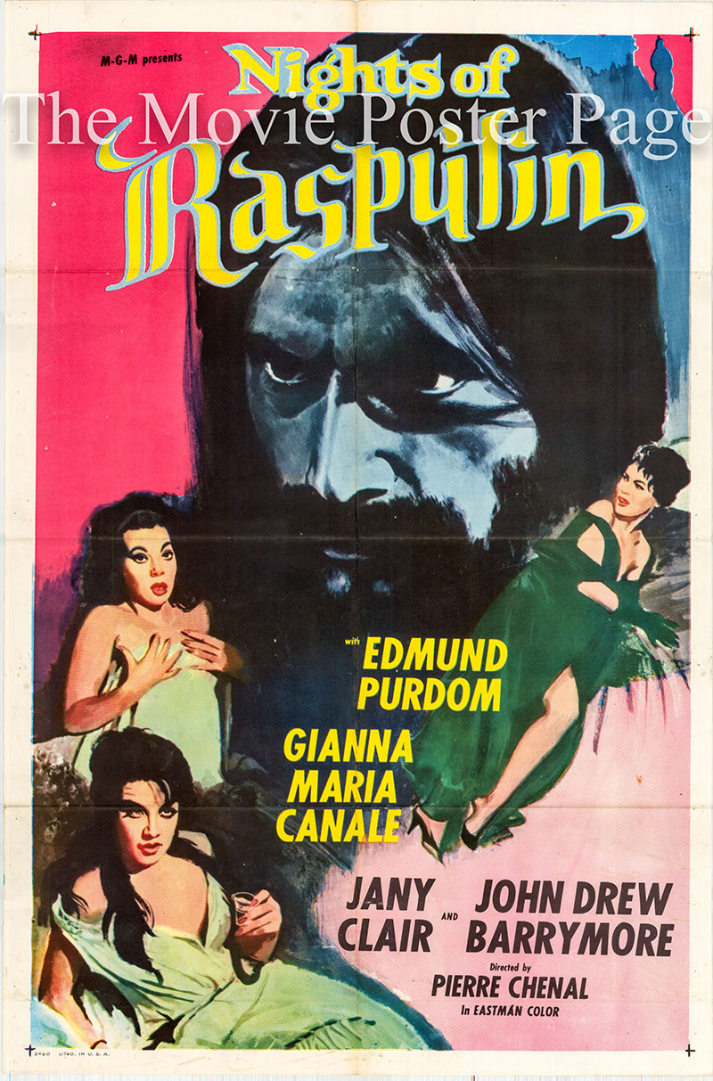 Pictured is a US one-sheet poster for the 1963 Pierre Chenal film Nights of Rasputen starring Edmund Purdom as Rasputin.