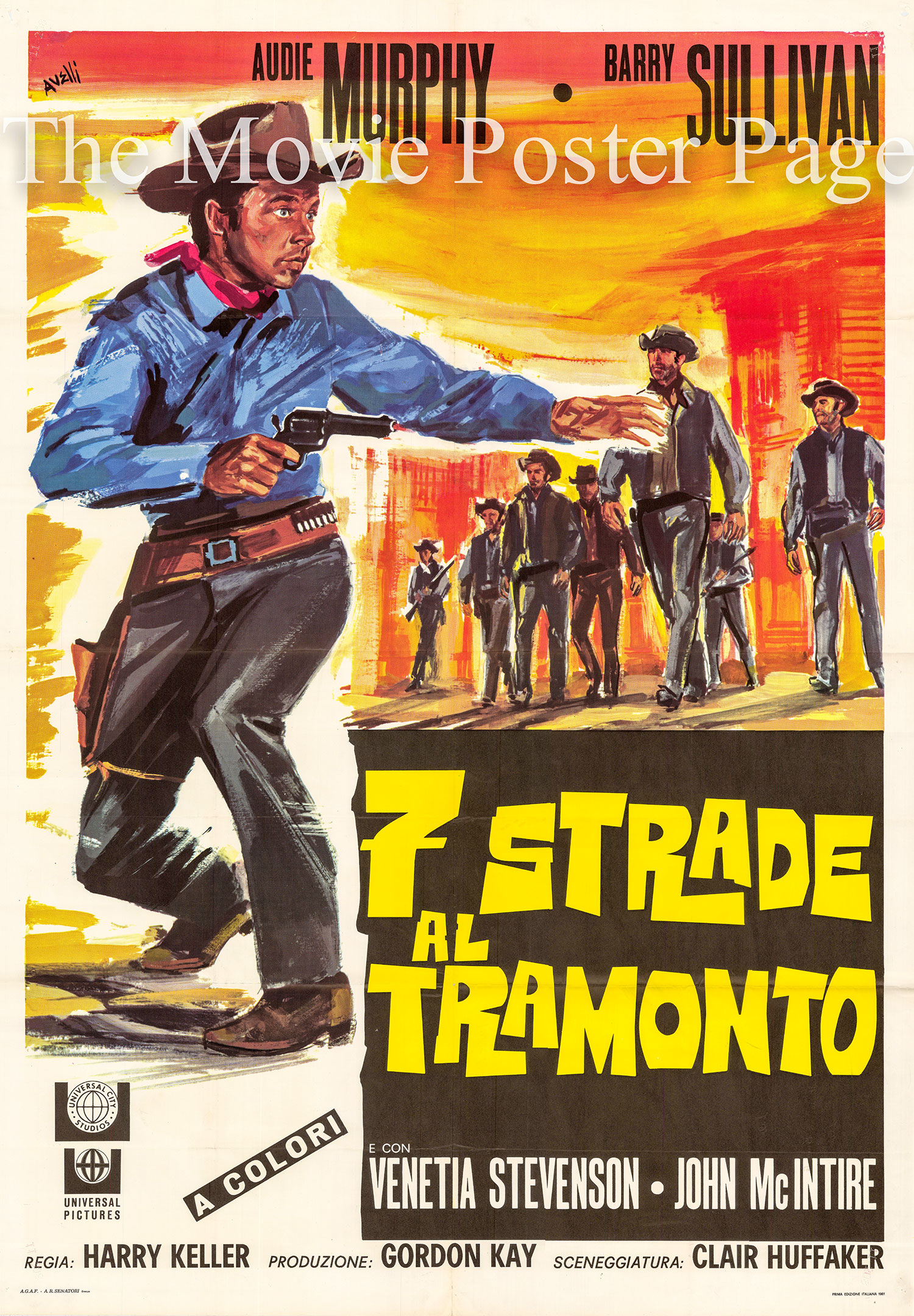 Pictured is an italian two-sheet poster for the 1960 Harry Keller film <i>Seven Ways from Sundown</i> starring Audie Murphy as Seven Ways from Sundown Jones.