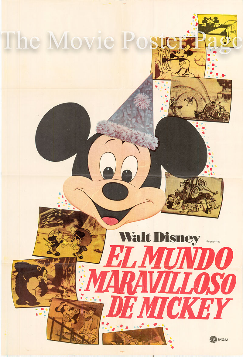 Pictured is an Argentine one-sheet poster for the 1968 William Beaudine and Ward Kimball film The Mickey Mouse Anniversary Show starring Dean Jones as the narrator.