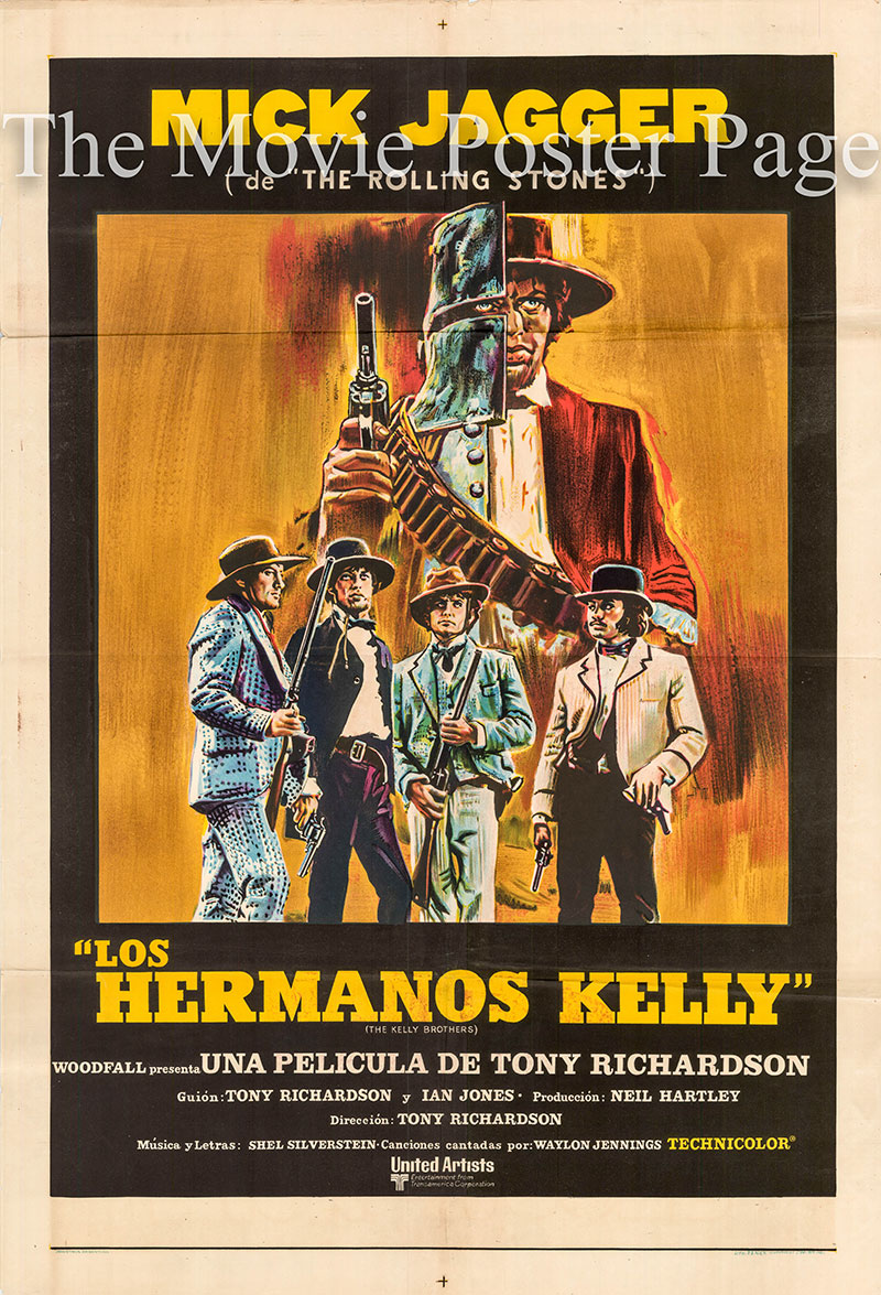 Pictured is an Argentine one-sheet poster for the 1970 Tony Richardson film The Kelly Brothers starring Mick Jagger as Ned Kelly.