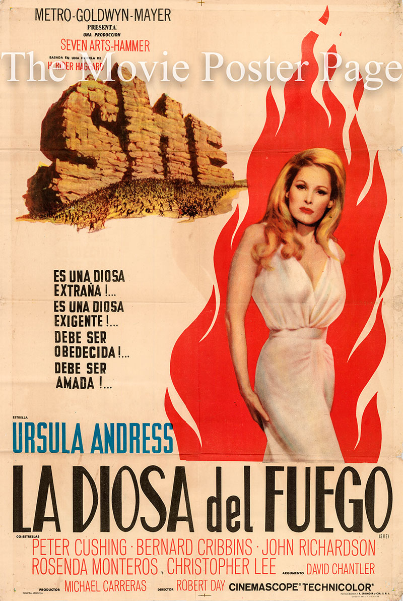 Pictured is an Argentine one-sheet poster for the 1965 Robert Day film She starring Ursula Andress as She.