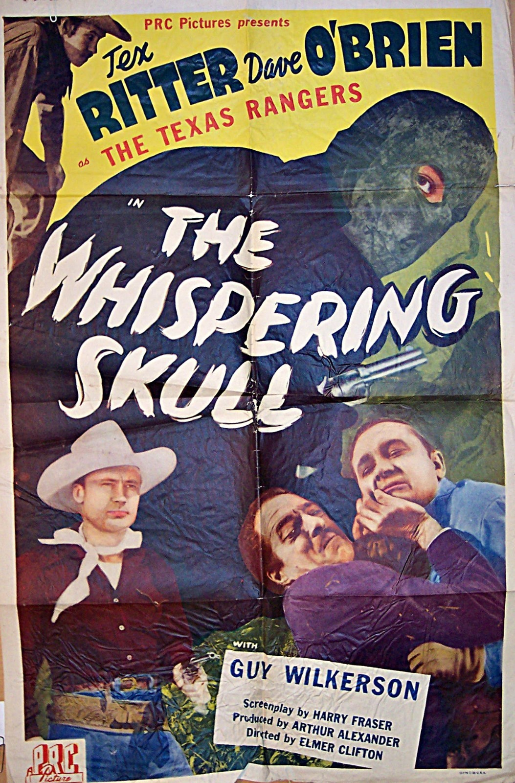 Pictured is a US one-sheet promotional poster for the 1944 Elmer Clifton film The Whispering Skull starring Tex Ritter.