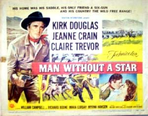 Pictured is a US lobby card set for the 1955 King Vidoer film Man without a Star starring Kirk Douglas.