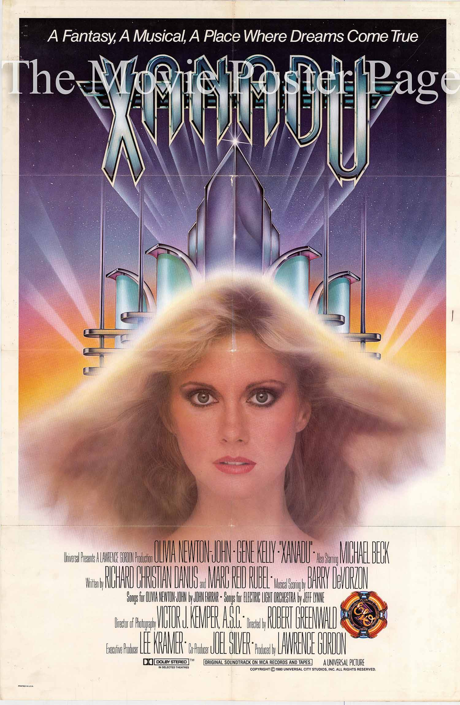 Pictured is a US promotional poster for the 1980 Robert Greewald film Xanadu starring Olivia Newton-John.