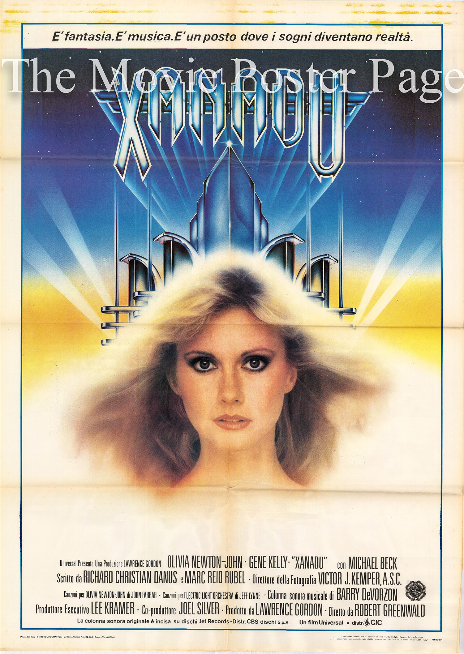 Pictured is an Italian two-sheet promotional poster for the 1980 Robert Greewald film Xanadu starring Olivia Newton-John.