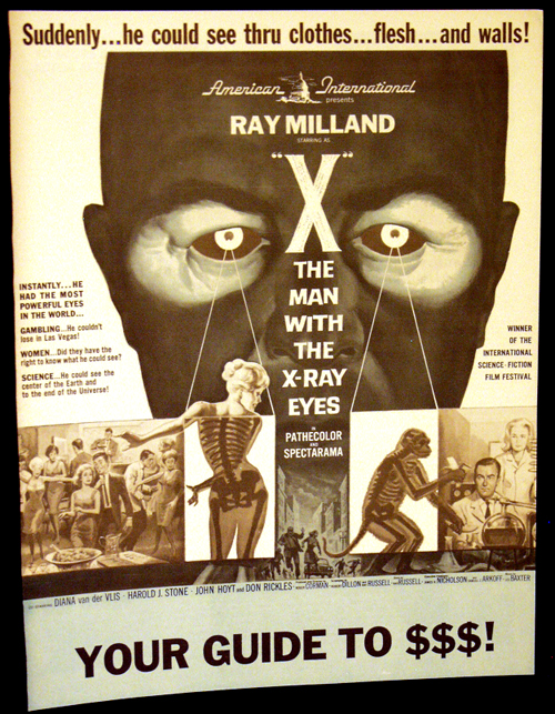 Pictured is a US press book for the 1963 Roger Corman film X: The Man with the X-Ray Eyesstarring Ray Milland.