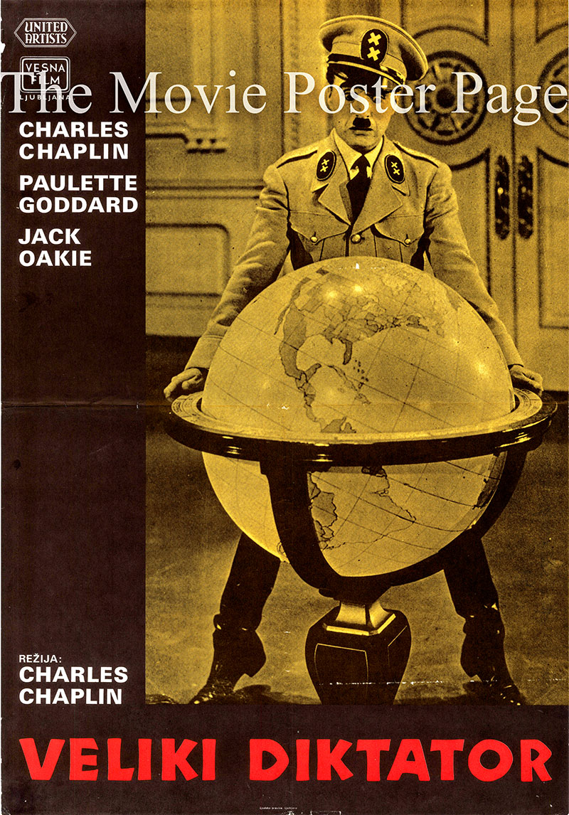 Pictured is a Yugoslavian promotional poster for a 1970s rerelease of the 1940 Charlie Chaplin film The Great Dictator, starring Charles Chaplin.