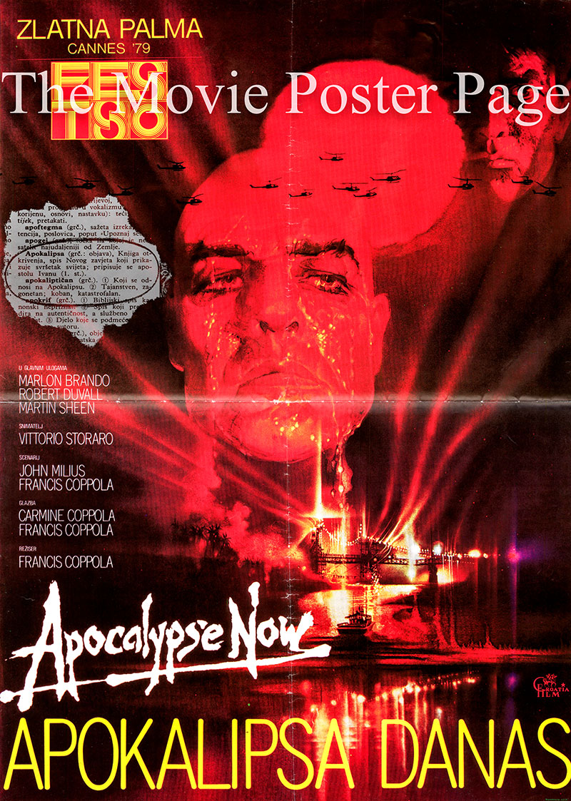 This is a Yugoslavian awards poster for the 1979 Francis Ford-Coppola film Apocalypse Now starring Marlon Brando as Colonel Walter E. Kurtz.