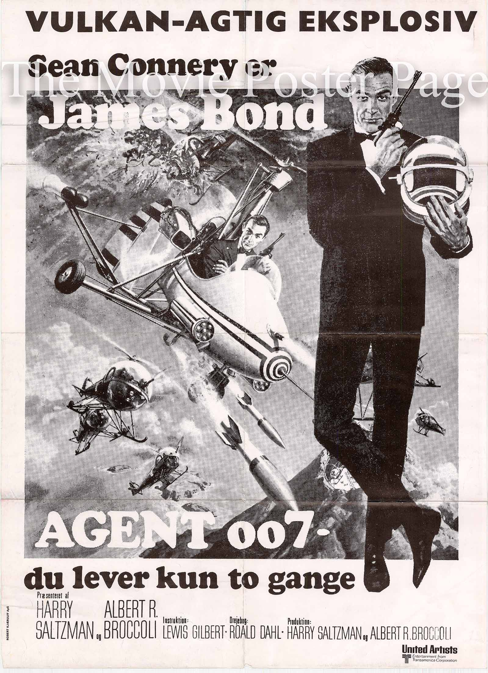 Pictured is an undated Danish poster made to promote a rerelease of the 1967 Lewis Gilbert film You Only Live Twice starring Sean Connery as James Bond.