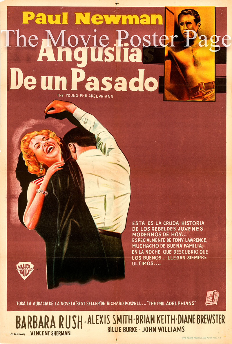 Pictured is an Argentine one-sheet poster for the 1959 Vincent Sherman film The Young Philadelphians starring Paul Newman as Anthony Judson Lawrence.