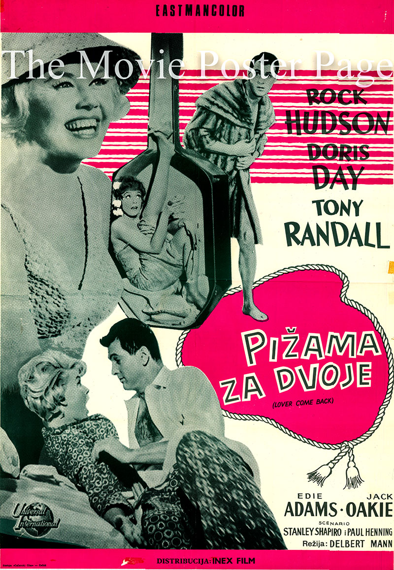Pictured is a Yugoslavian promotional poster for the 1961 Delbert Mann film Lover Come Back starring Rock Hudson as Jerry Webster.