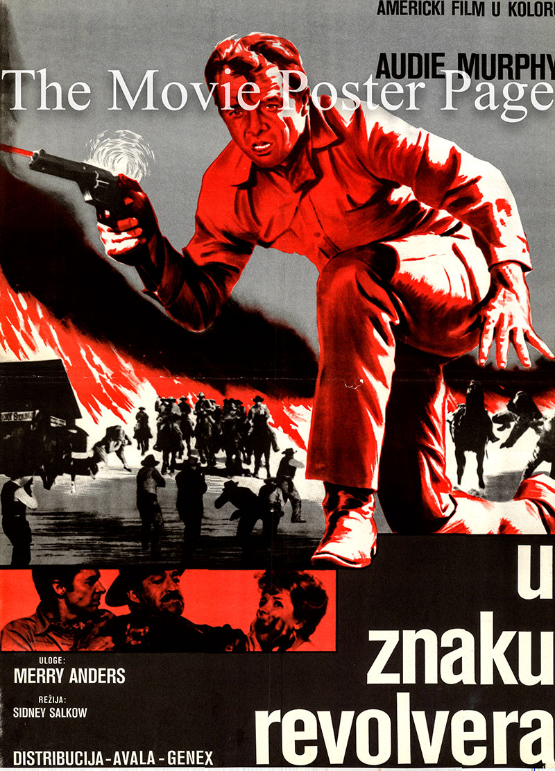 Pictured is a Yugoslavian poster for the 1964 Sidney Salkow film The Quick Gun starring Audie Murphy as Clint Cooper.