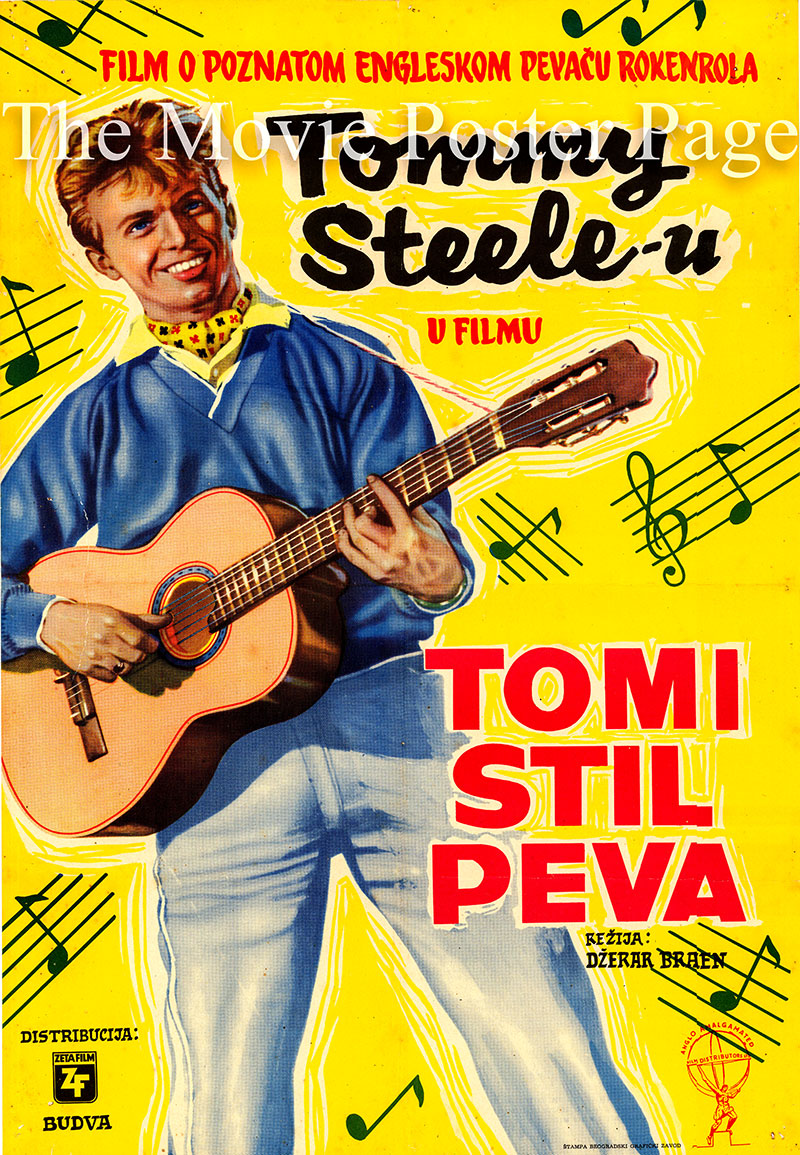 Pictured is a Yugoslavian poster for the 1957 Gerard Bryant film The Tommy Steele Story starring Tommy Steele as himself.