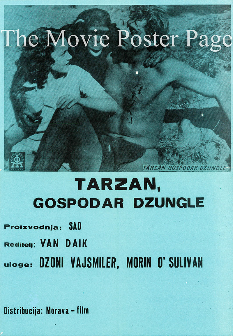 Pictured is a Yugoslavian poster for a 1960s rerelease of the 1932 W.S. Van Dyke film Tarzan the Ape Man starring Johnny Weissmuller as Tarzan.