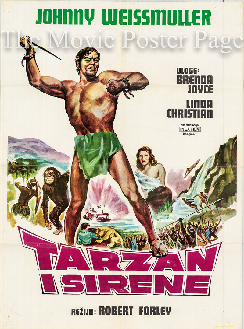 Pictured is a Yugoslavian poster for the 1948 Robert Florey film Tarzan and the Mermaids starring Johnny Weismuller as Tarzan.