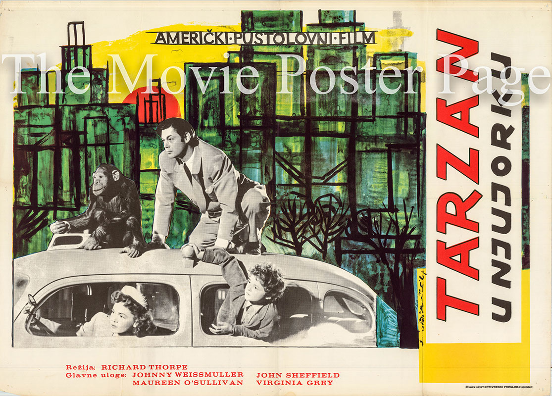 Pictured is a Yugoslavian poster for a 1970s rerelease of the 1942 Richard Thorpe film Tarzan's New York Adventure starring Johnny Weissmuller as Tarzan.