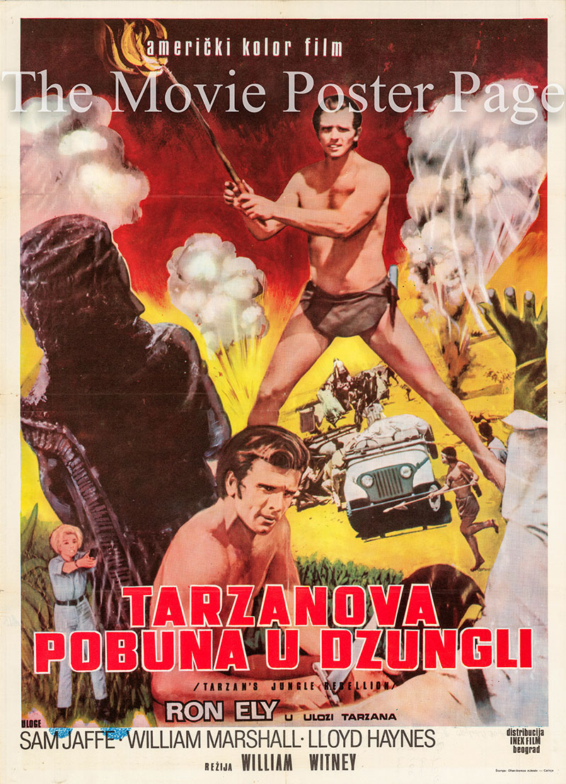 Pictured is a Yugoslavian poster for a 1970s rerelease of the 1967 William Witney film Tarzan's Jungle Rebellion starring Ron Ely as Tarzan.
