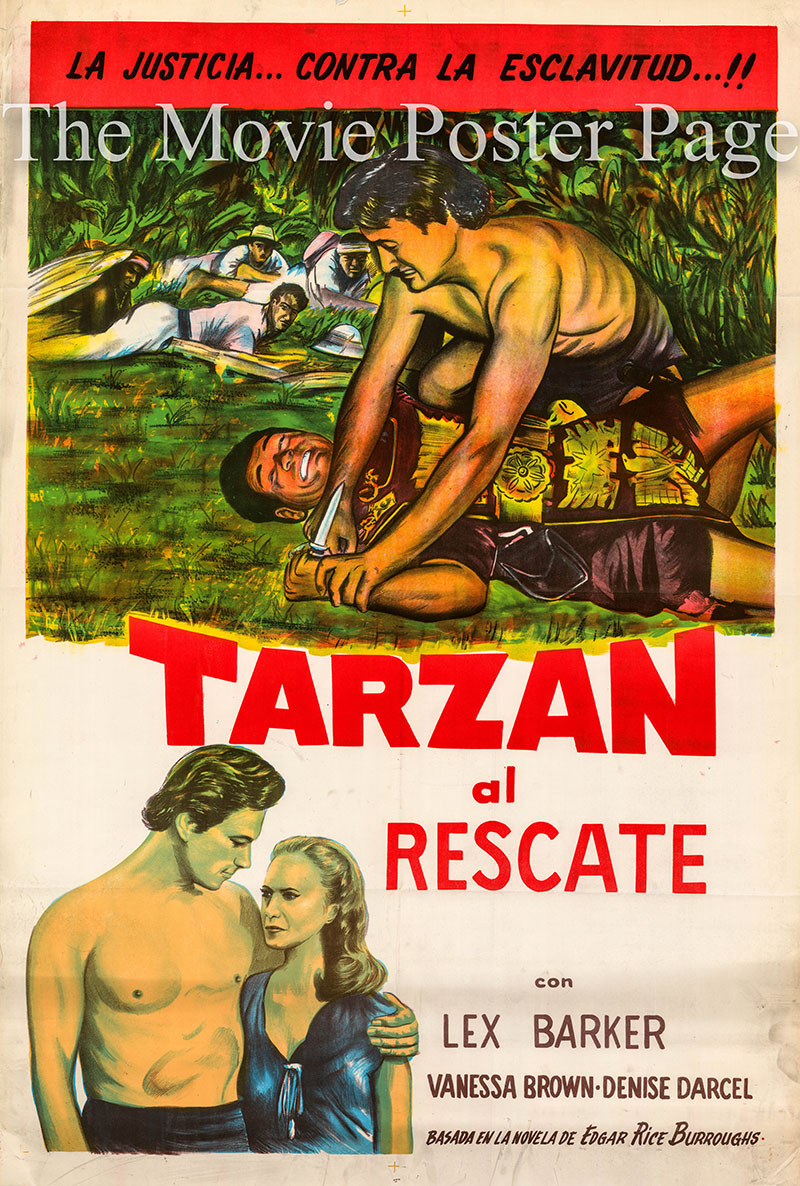 Pictured is a Spanish poster for a 1970s rerelease of the 1950 Lee Sholem film Tarzan and the Slave Girl starring Lex Barker as Tarzan.