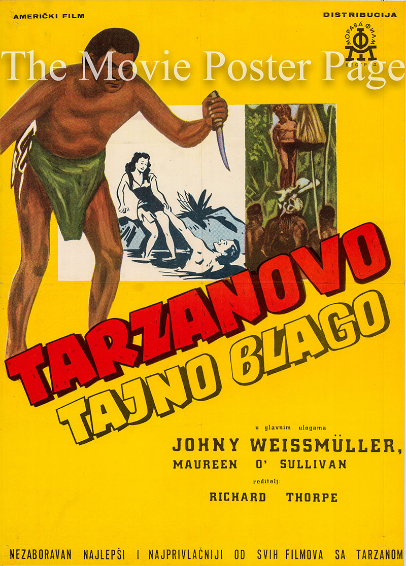 Pictured is a Yugoslav poster for a 1970s rerelease of the 1941 Richard Thorpe film Tarzan's Secret Treasure starring Johnny Weissmuller as Tarzan.