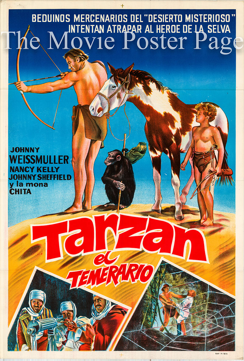 Pictured is an Argentine one-sheet poster for a 1971 rerelease of the 1943 Wilhelm Thiele film Tarzan's Desert Mystery starring Johnny Weissmuller as Tarzan.