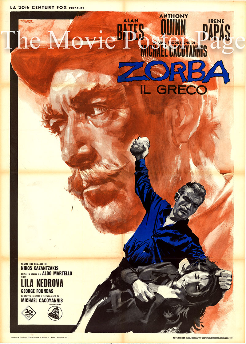 Pictured is an Italian two-sheet poster for the 1964 Mihalis Kakogiannia film Zorba the Greek starring Anthony Quinn as Alexis Zorba.