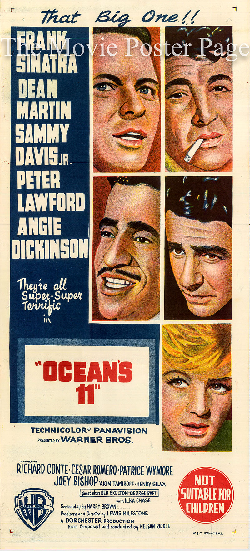 Pictured is an Australian daybill poster for the 1960 Lewis Milestone film Ocean's 11 starring Frank Sinatra as Danny Ocean.