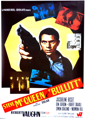 Pictured is a reprint onf an Italian promotional poster for the 1968 Peter Yates film Bullitt starring Steve McQueen.