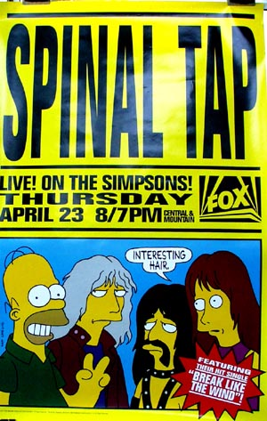 Pictured is a TV poster for the 1992 Simpsons episode Spinal Tap.