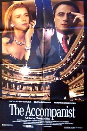 Pictured is a US promtional poster for the 1992 Claude Miller film the Accompanist starring Richard Bohringer and Yelena Safonova.