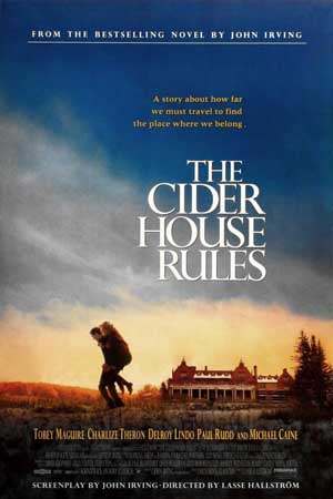 Pictured is a US promotional poster for the 1999 Lasse Hallstrom film Cider House Rules starring Michael Caine and Tobey Magire based on a novel by John Irving.