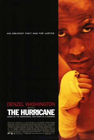 Pictured is a US promotional poster forthe 1999 Norman Jewison film Hurricane starring Denzel Washington.