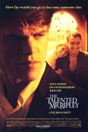 Pictured is a US promotional poster for the 1999 Anthony Minghella film The Talented Mr. Ripley starring Matt Damon and Gwyneth Paltrow.