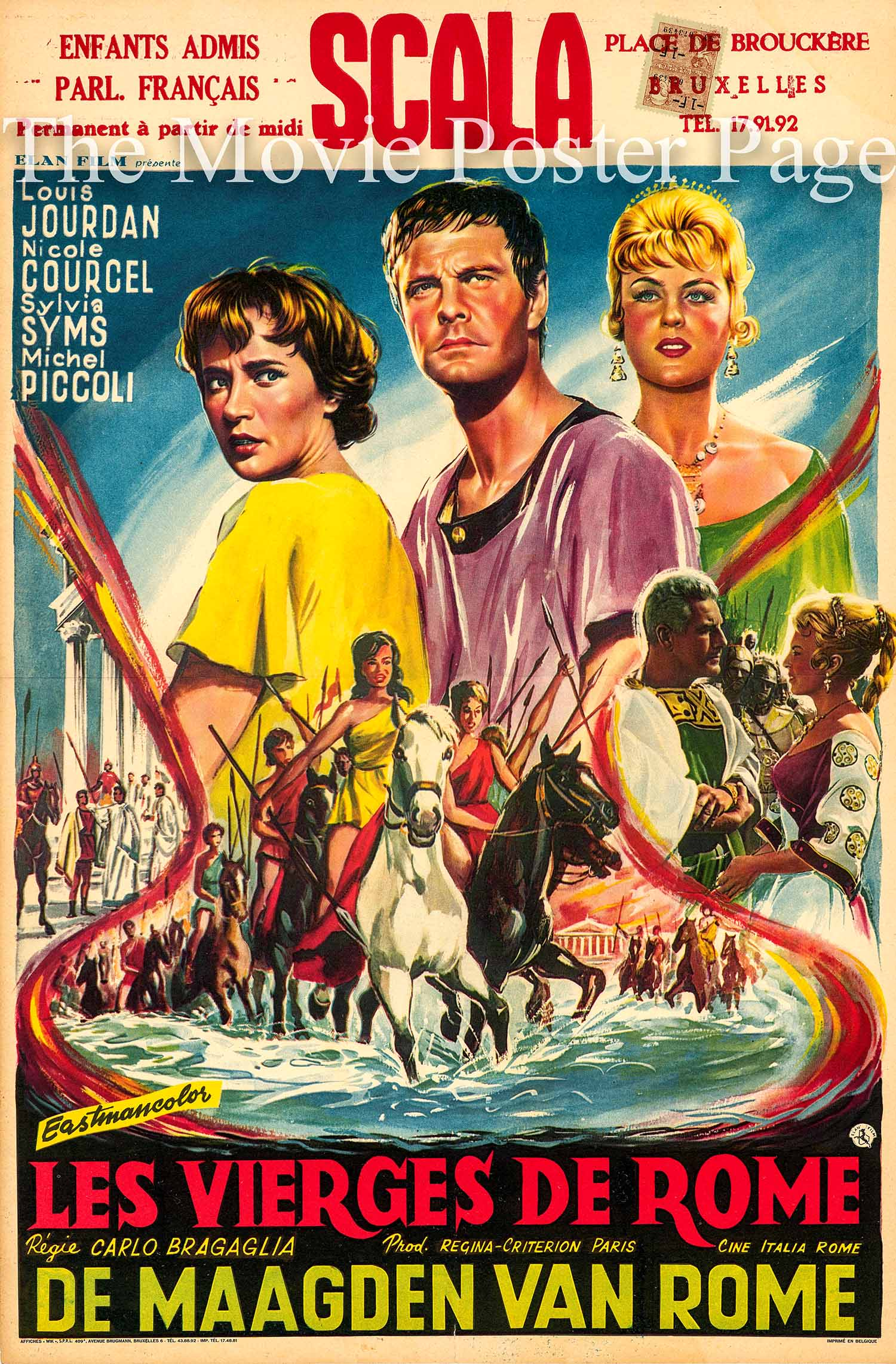Pictured is a Belgian poster made to promote the 1961 Carlo Ludvico Bragagia and Vittorio Cottafavi film Amazons of Rome [Les vergini di Roma] starring Louis Jourdan.