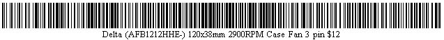 Pictured is a barcode for Delta (AFB1212HHE-) 120x38mm 2900RPM Case Fan 3 pin.