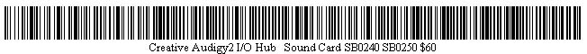 Pictured is a barcode for Creative Audigy2 I/O Hub + Sound Card SB0240 SB0250.