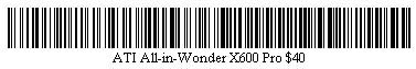 Pictured is a barcode for ATI All-in-Wonder X600 Pro video card.