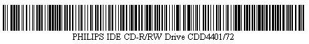 Pictured is a barcode for PHILIPS IDE CD-R/RW Drive CDD4401/72.
