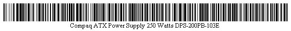 Pictured is a barcode for Compaq ATX Power Supply 250 Watts DPS-200PB-103E.