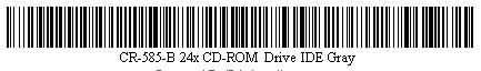 Pictured is a barcode for CR-585-B 24x CD-ROM Drive IDE Gray.
