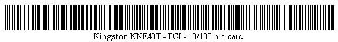 Pictured is a barcode for Kingston KNE40T - PCI - 10/100 nic card.