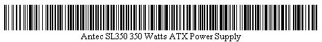 Pictured is a barcode for Antec SL350 350 Watts ATX Power Supply.