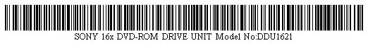 Pictured is a barcode for SONY 16x DVD-ROM DRIVE UNIT Model No:DDU1621.